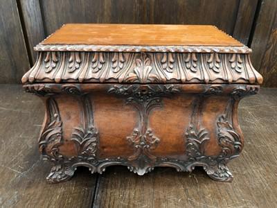 Lot 23 - A Maitland-Smith carved mahogany tea caddy,...