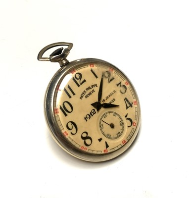 Lot 24 - A keyless pocket watch inscribed 'Patek...