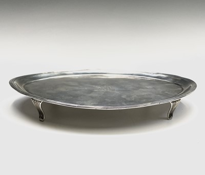 Lot 49 - A George III silver elliptical teapot stand by...