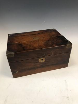 Lot 11 - A Victorian walnut and brass bound writing...