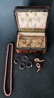 Lot 12 - A small antique wooden jewellery box...