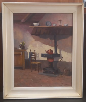 Lot 5 - M.D GROOT, A Continental interior, oil on...