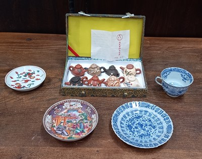Lot 20 - A vintage miniature Japanese teapot set in...