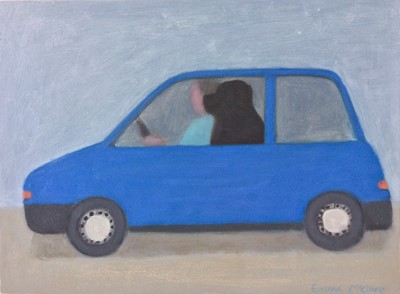 Lot 31 - Emma MCCLURE (1962) 'The Little Blue Car' Oil...