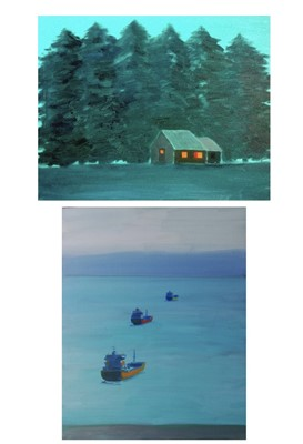 Lot 33 - Tim PIKE (Two works) 'Three Ships' Oil on...
