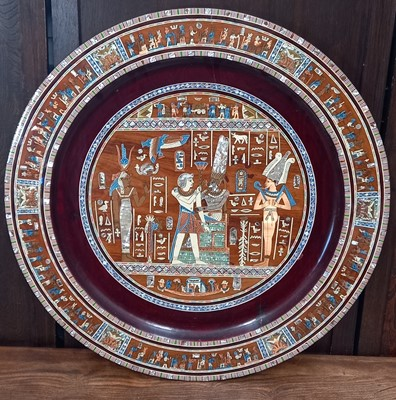 Lot 14 - A large Egyptian wall plaque, inlaid with...