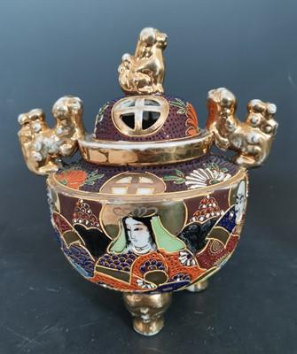 Lot 10 - A Japanese Satsuma style porcelain incense...
