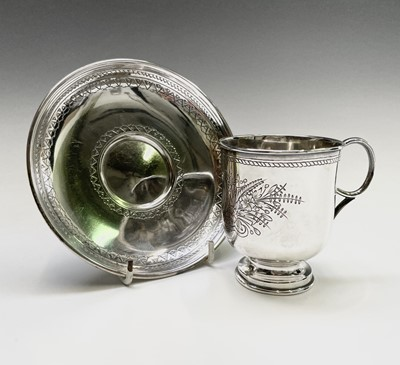 Lot 60 - A Russian Moscow silver cup and saucer with...