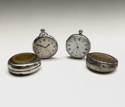 Lot 28 - A nickel cased keyless military pocket watch...