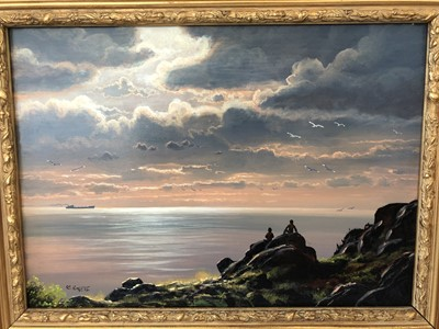 Lot 14 - Oil on board indistinctly signed.