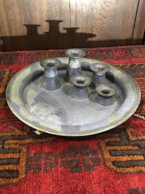 Lot 9 - A studio pottery circular candleholder, makers...