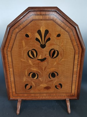 Lot 6 - A vintage marquetry fire screen panel. ...