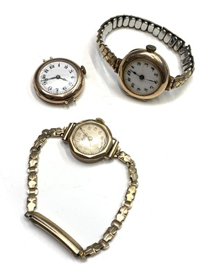 Lot 29A - Three ladies 9ct gold cased wristwatches