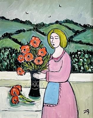 Lot 4 - Joan GILLCHREST (1918-2008) Arranging Poppies...