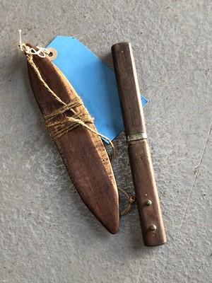 Lot 14 - A Mulga wood aboriginal Bull Roarer, and...