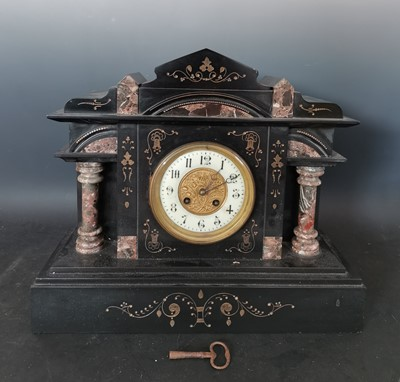 Lot 12 - A late 19th century French marble and slate...
