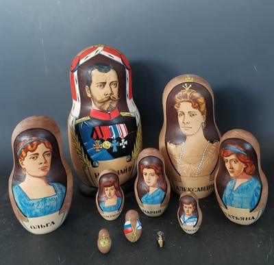 Lot 16 - The Romanov Family Russian nesting dolls.