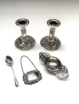Lot 88 - A pair of low embossed filled silver...