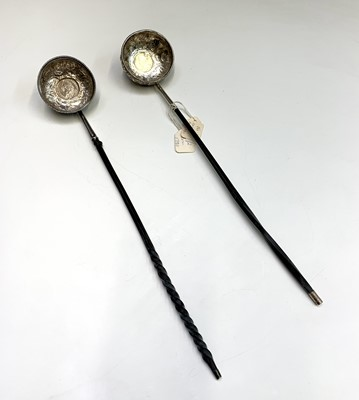 Lot 75 - Two silver punch ladles with whale bone...