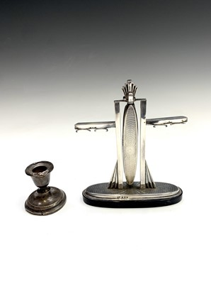 Lot 92 - An Art Deco silver manicure stand with engine...