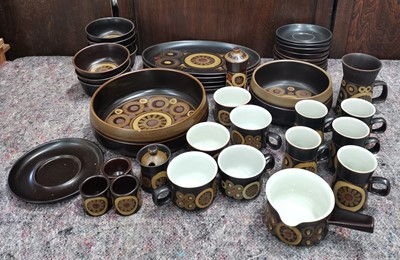 Lot 6 - Denby Arabesque Stoneware, forty two pieces in...