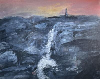 Lot 25 - Roy DAVEY (1946) The Sunset Lighthouse Oil on...