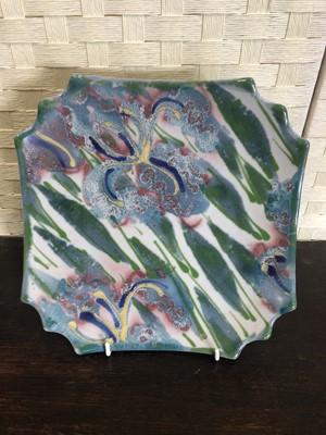 Lot 8 - A quatrefoil shaped porcelain plate hand...