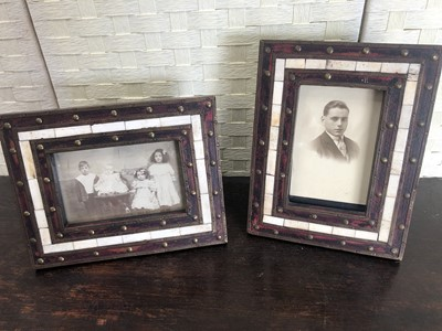 Lot 19 - Two brass bound bone inlay picture frames,...