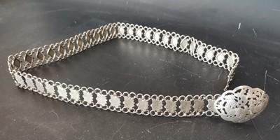 Lot 16 - An antique Chinese Peranakan white metal belt.