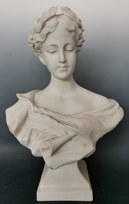 Lot 7 - A large resin bust of a Greek or Roman lady. ...