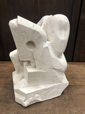 Lot 1 - A plaster maquette figural abstract sculpture,...
