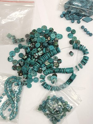 Lot 32 - Loose turquoise beads various shapes.