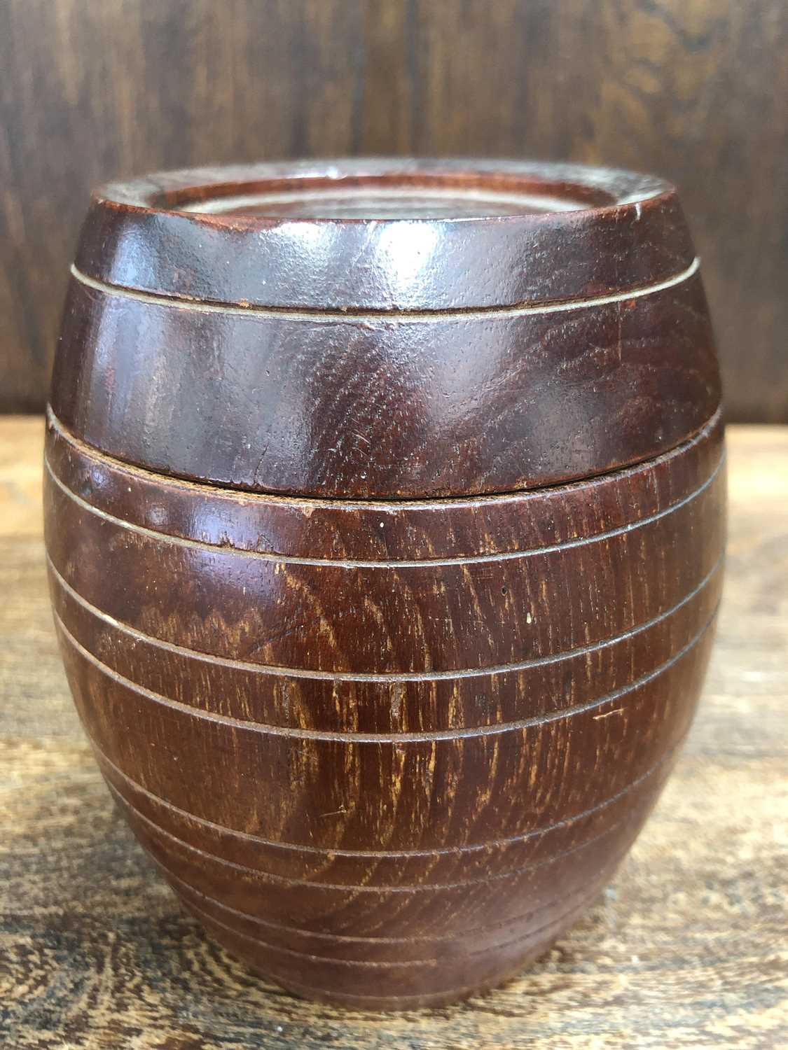 Lot 26 - A barrel made from the teak of the H.M.S Iron...