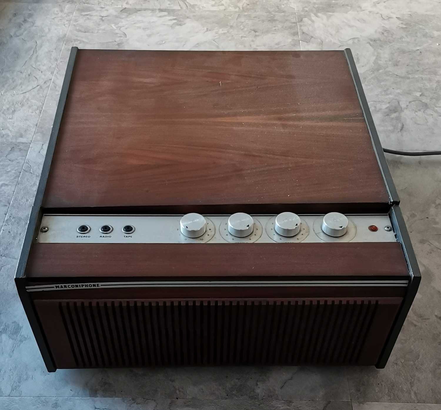 Lot 28 - A vintage wooden Marconiphone record player.