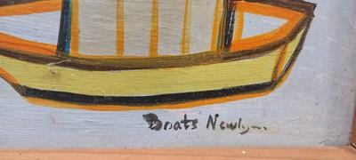Lot 22 - Boats Newlyn Oil On Board Titled 46.5cm x 54.5cm