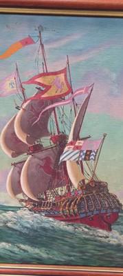 Lot 13 - Bernard NINNES (1899-1971) Galleons on the...