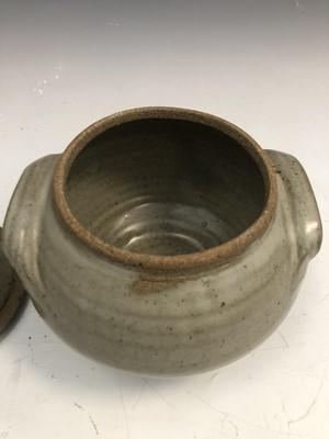 Lot 41 - Studio pottery twin handled tureen cover,...