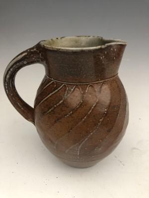 Lot 42 - Bridget Duxbury studio pottery jug and twin...