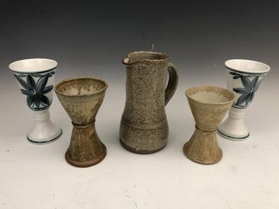 Lot 43 - A studio pottery jug, a matched pair of studio...