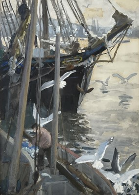 Lot 77 - Ernest PROCTER (1886-1935) Schooner in Harbour,...
