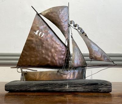 Lot 37 - Mark PENROSE Copper Fishing Lugger Height 32cm...