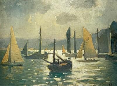 Lot 90 - George Fagan BRADSHAW (1887-1960) Busy Sunlit...