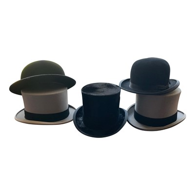 Lot 21-A silk top hat, Woodrow of Liverpool, and four...