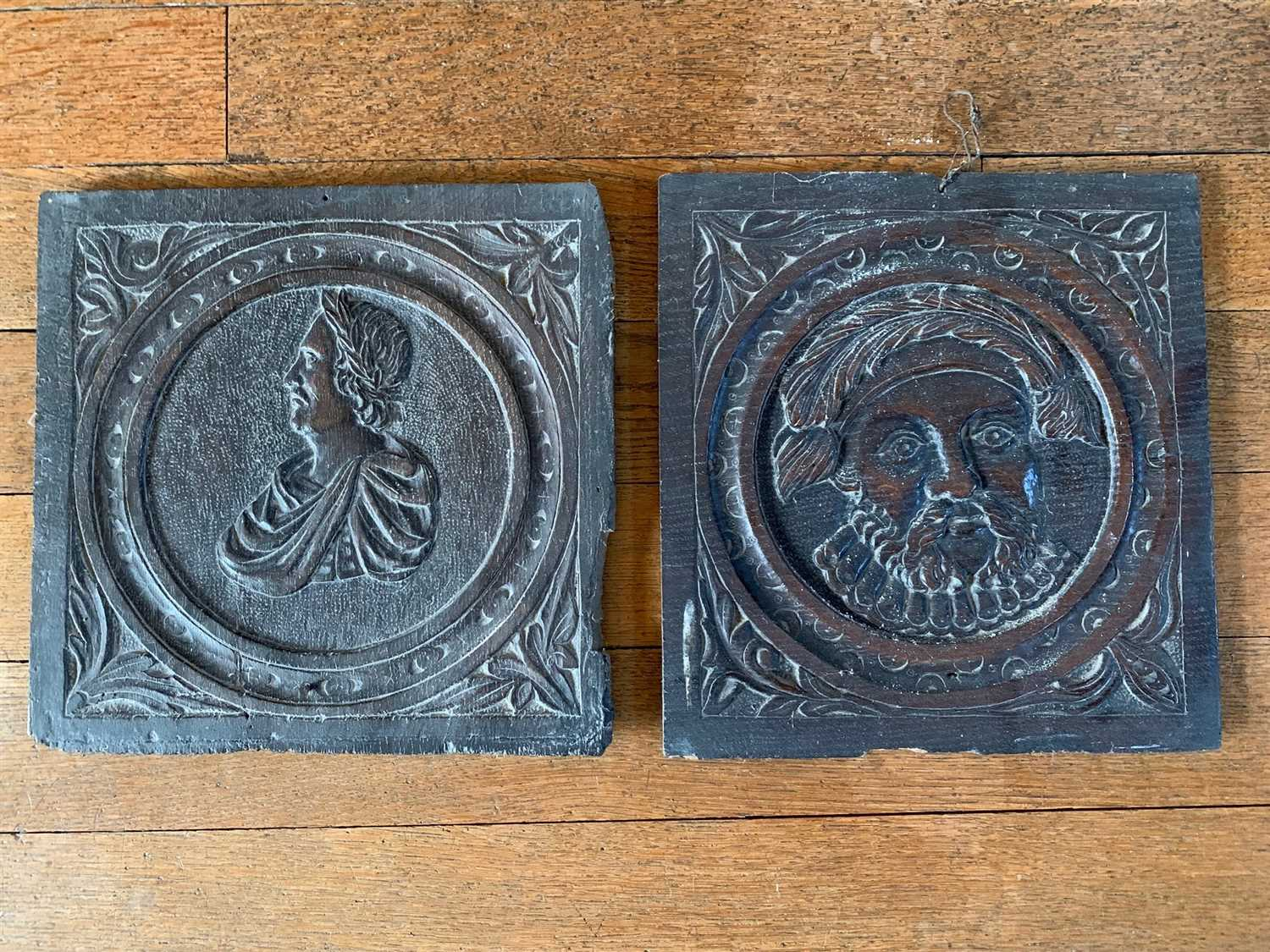 Lot 6-Two carved oak panels, depicting Henry VIII and a ...