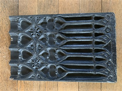 Lot 45-A Gothic rectangular carved oak panel.