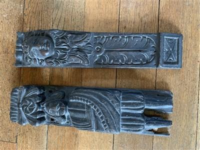 Lot 46-A carved oak panel depicting a male figure 10cm x ...