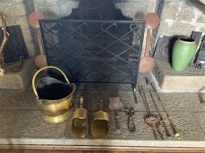 Lot 47-A Victorian brass coal bucket, three brass...