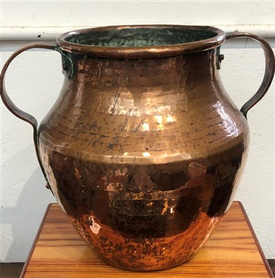 Lot 48-A Victorian copper twin handled vase.