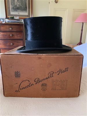 Lot 22-A silk top hat bearing label Harman & Son Hatters,...