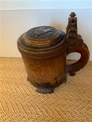 Lot 18-A Norwegian birchwood tankard, 18th century, the...